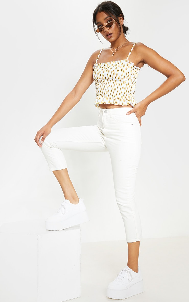 White Sunflower Printed Shirred Tie Detail Crop Top 4