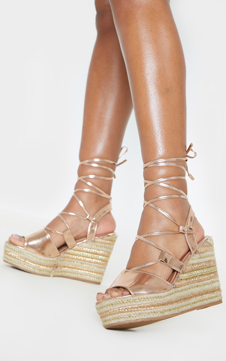 dc6c1f85111 Rose Gold Ghillie Lace Up Espadrille Wedge Sandal