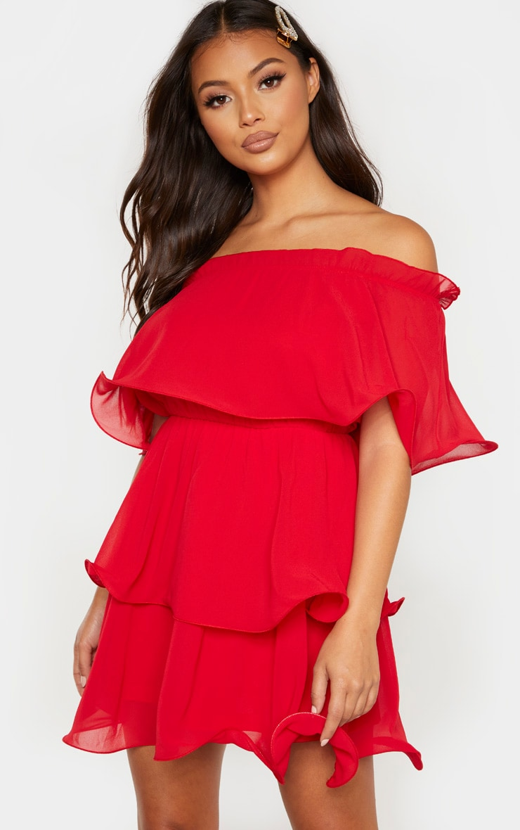Petite Red Chiffon Bardot Ruffle Tiered Dress 1