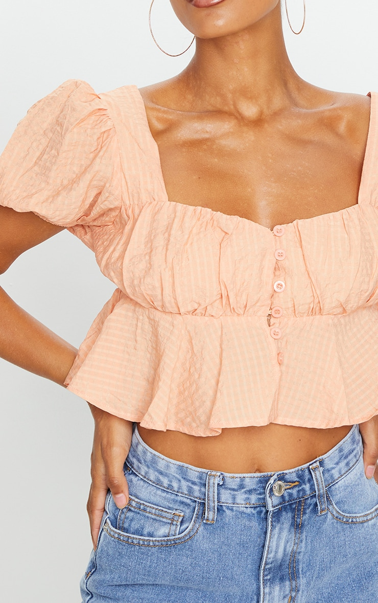 Pink Textured Button Front Puff Sleeve Crop Top 4