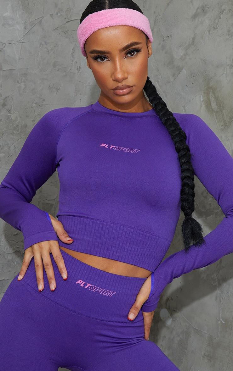 Purple Long Sleeve Seamless Sports Top 4