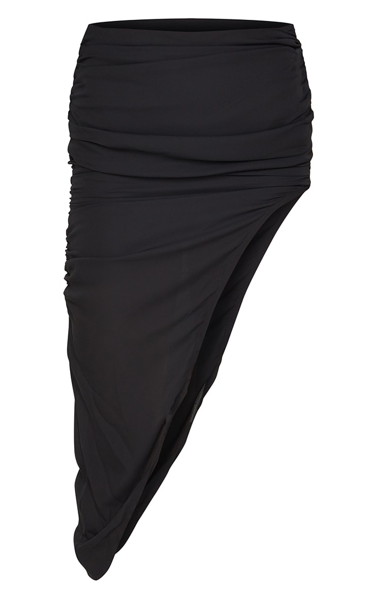 Black Woven Ruched Side Asymmetrical Midi Skirt 3
