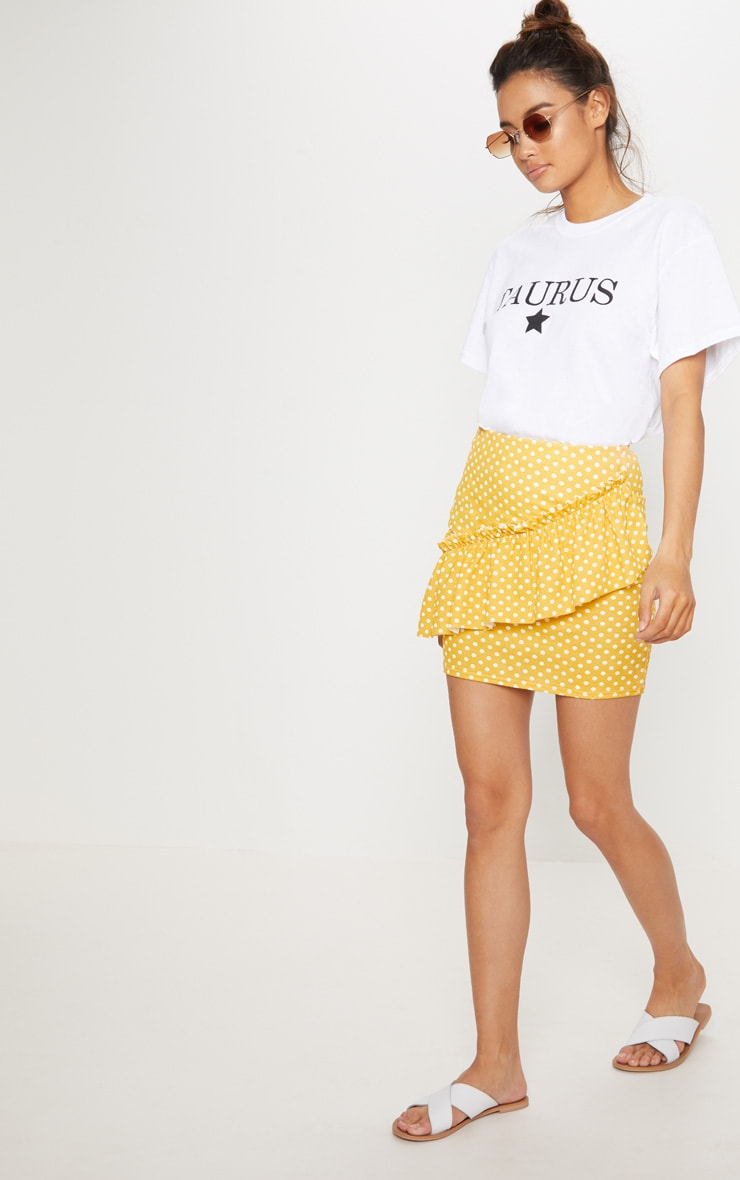 Mustard Polka Dot Frill Mini Skirt 1