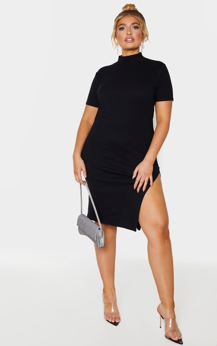Plus Black Rib High Neck Short Sleeve Midi Dress  1