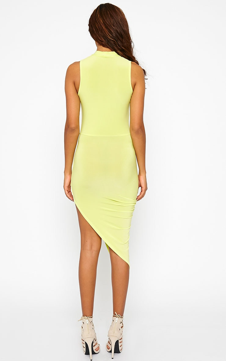 Prim Lime Slinky Drape Asymmetric Dress 2