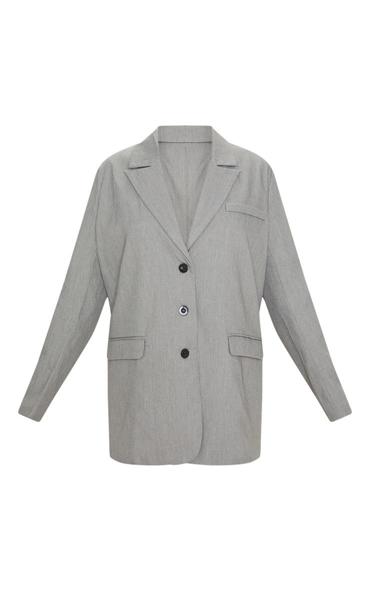 Grey Oversized Woven Blazer 3