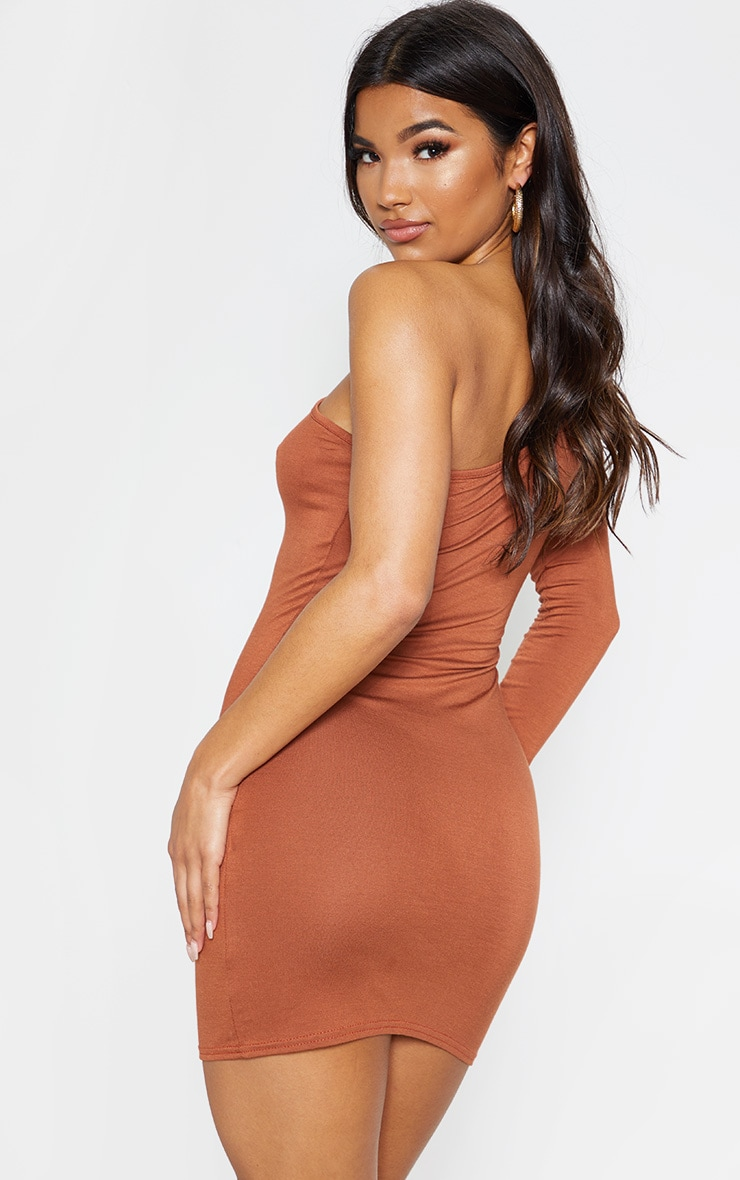 Tan One Shoulder Long Sleeve Bodycon Dress  2