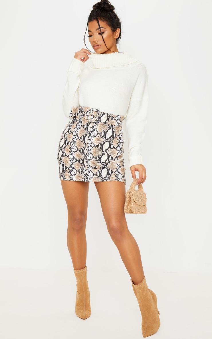 Stone Snake Print Belted Mini Skirt 5
