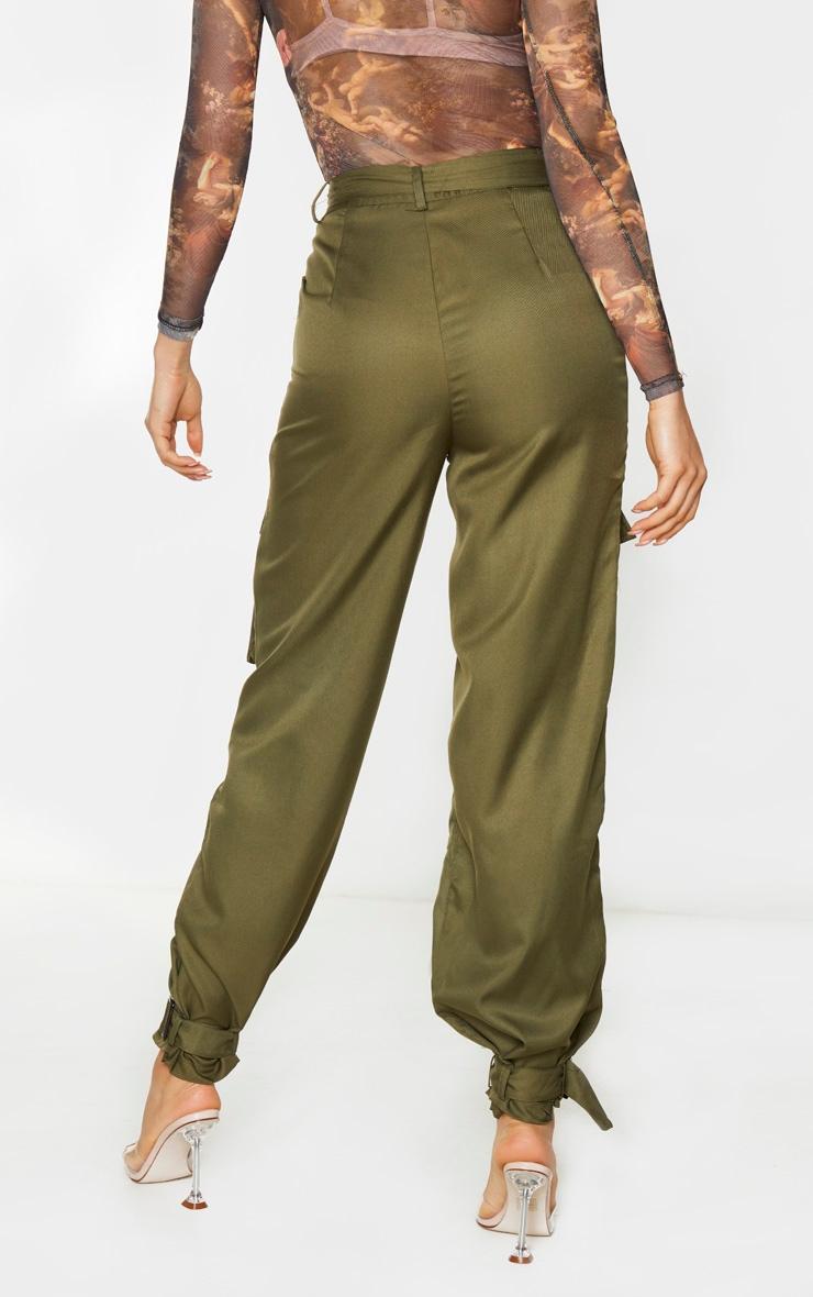 Tall Khaki Cargo Pocket Detail Buckle Pants 3
