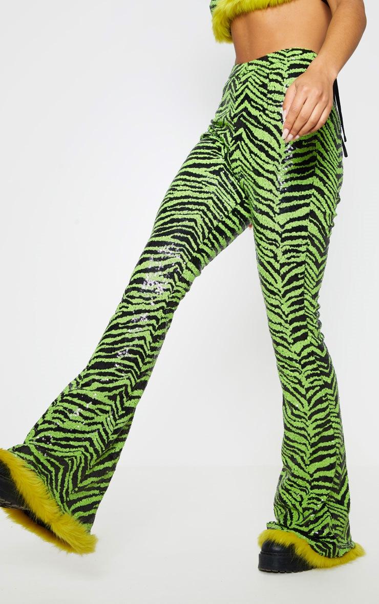 Lime Zebra Sequin Faux Fur Trim Flare Trousers 3