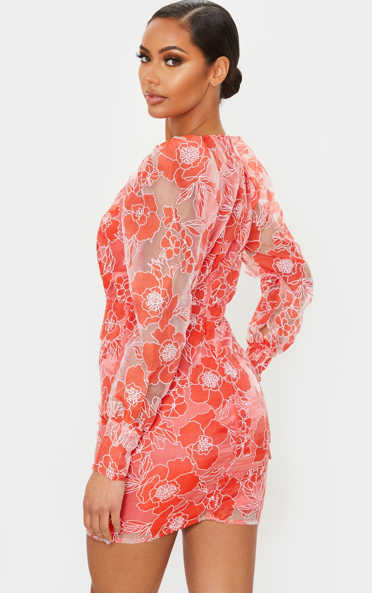 Red Floral Lace Puff Sleeve Bodycon Dress 2