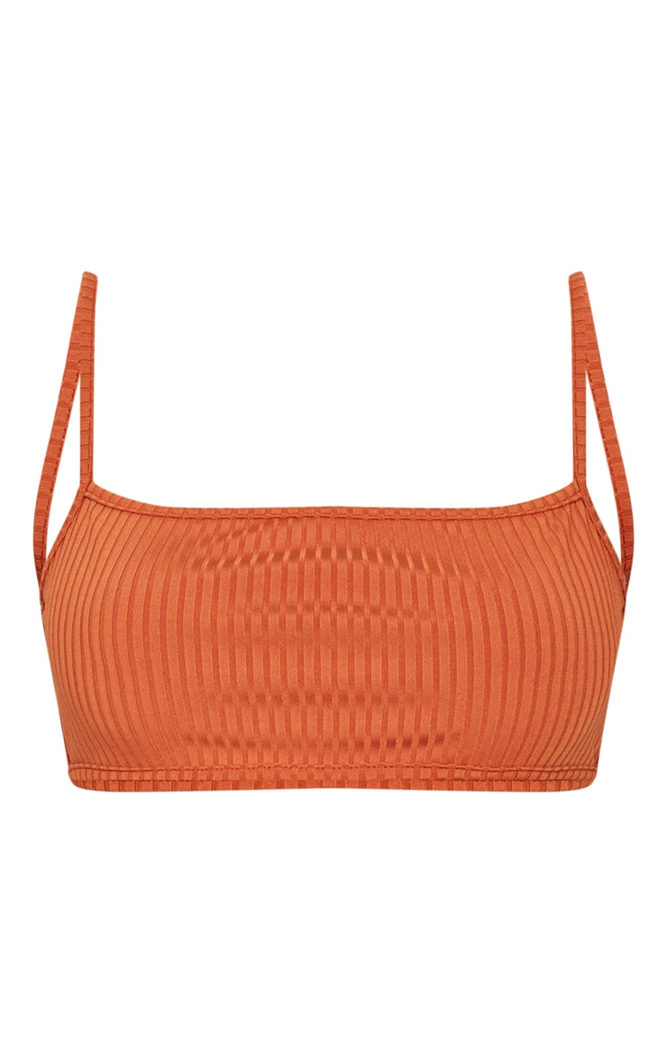 Burnt Orange Rib Strappy Back Bralet 3