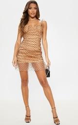 Nude Polka Dot Mesh Frill Bodycon Dress 4