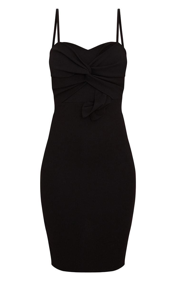 Black Strappy Bow Detail Midi Dress 3