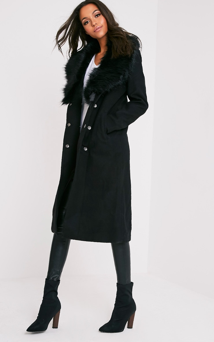 Black Faux Fur Collar Double Breasted Coat 5
