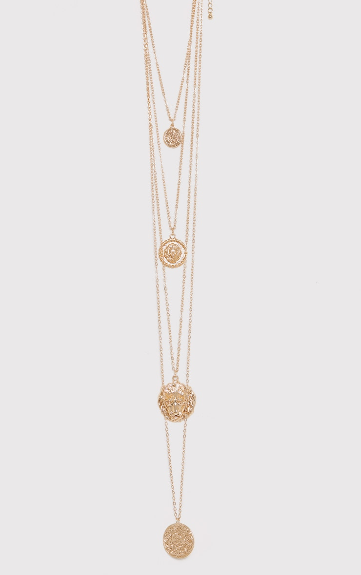 Norie Gold Multi Layered Lion Necklace 2