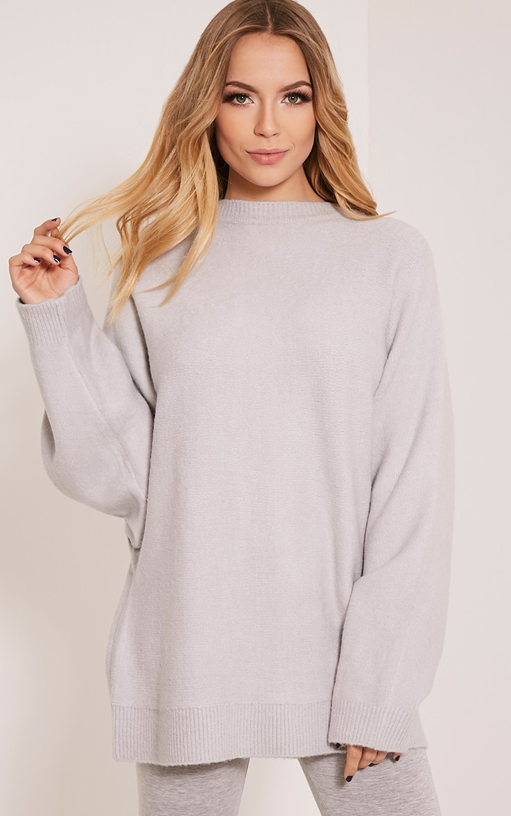 Raysa Silver Oversized Knitted Jumper 1