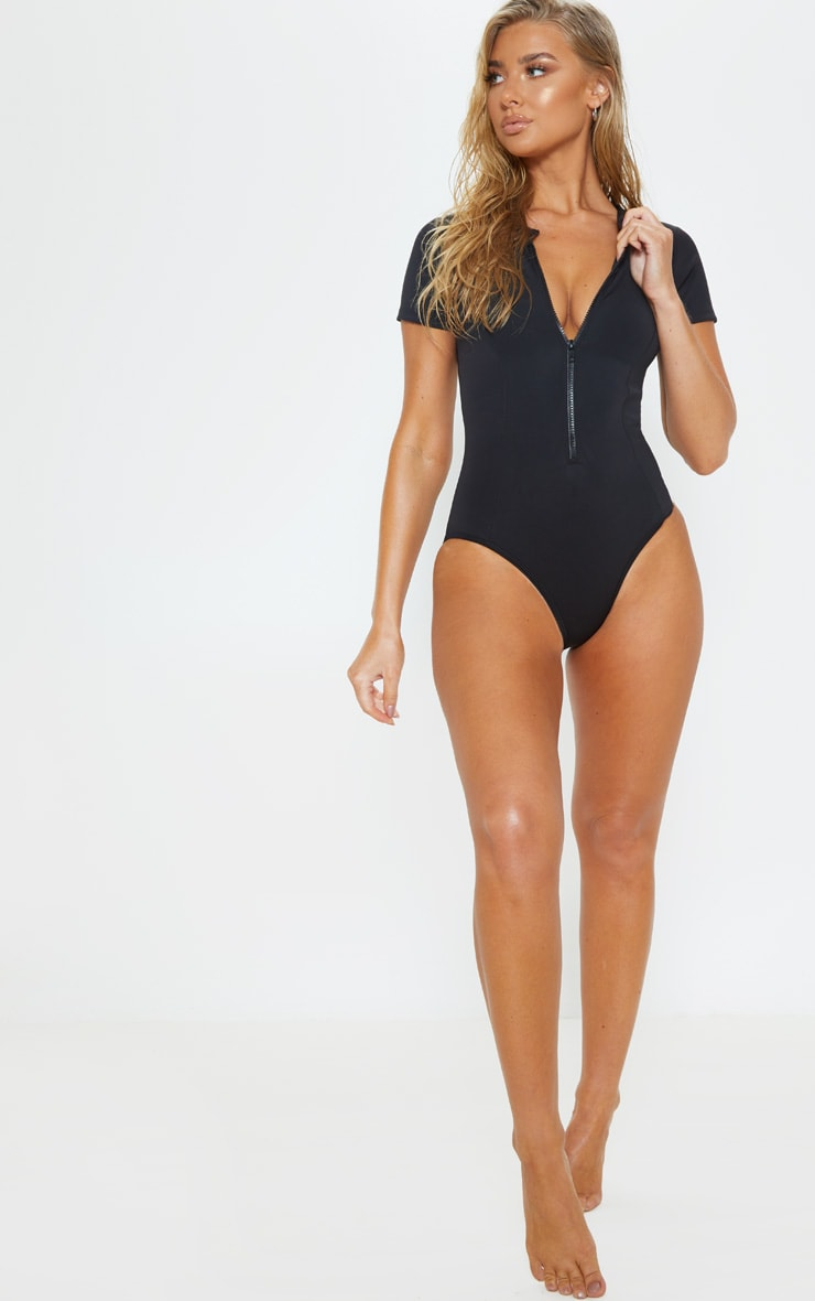 Black Scuba Zip Up Swimsuit 5
