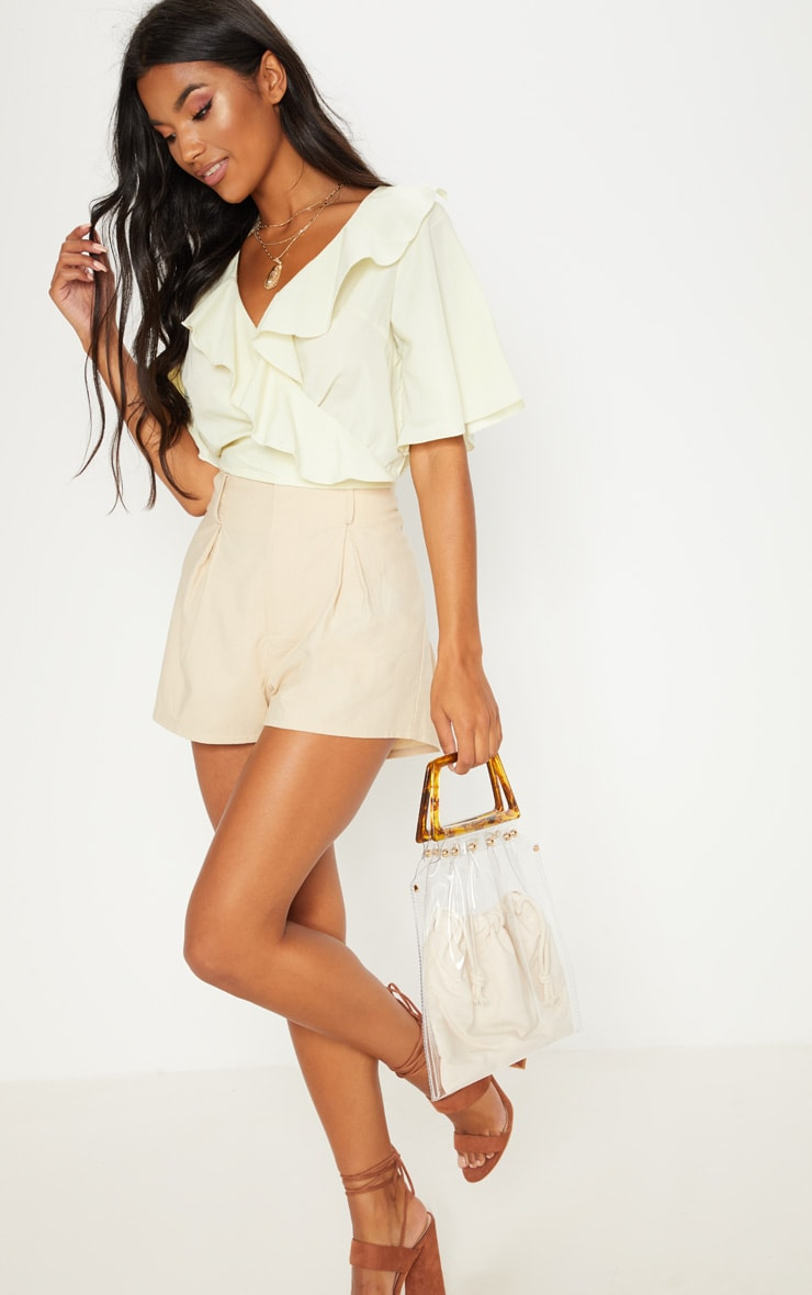 Pale Yellow Frill Wrap Front Crop Blouse 1