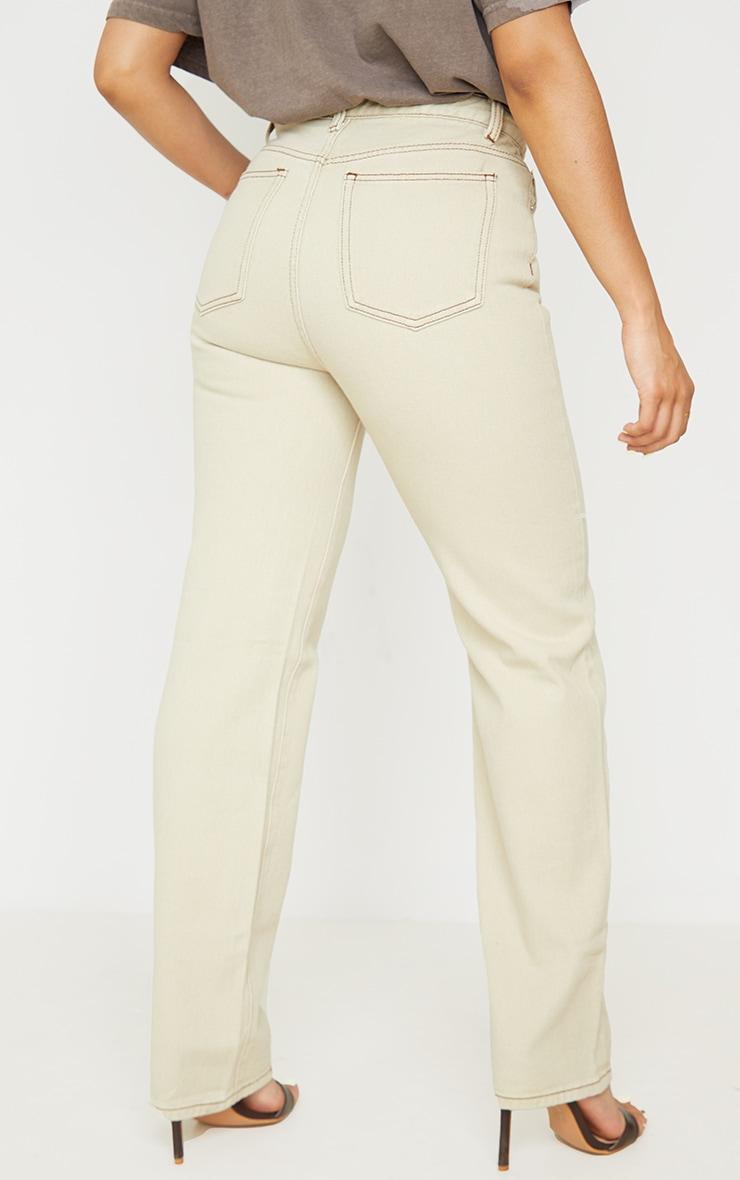 Petite Stone Contrast Stitch Long Leg Straight Jeans 3