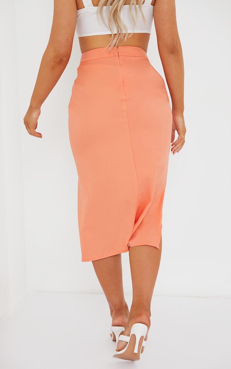 Orange Woven Ruched Detail Midi Skirt 3