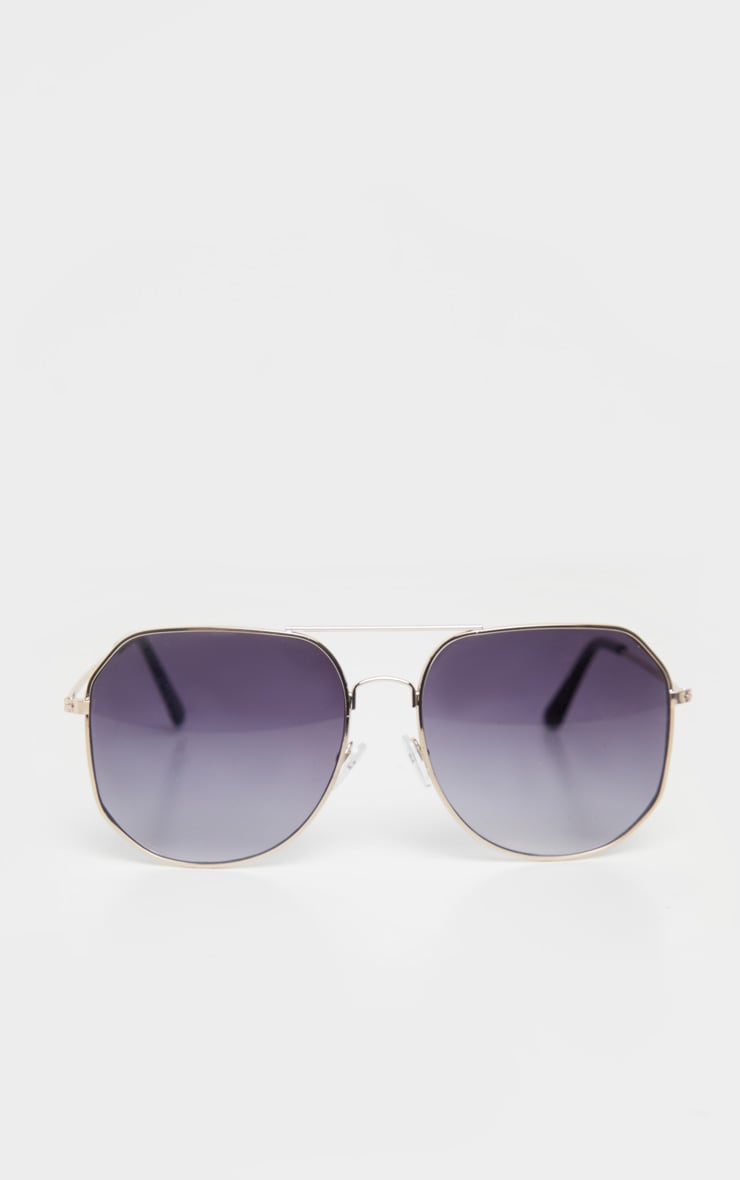 Gold Trim Slight Hexagon Aviator Sunglasses 2