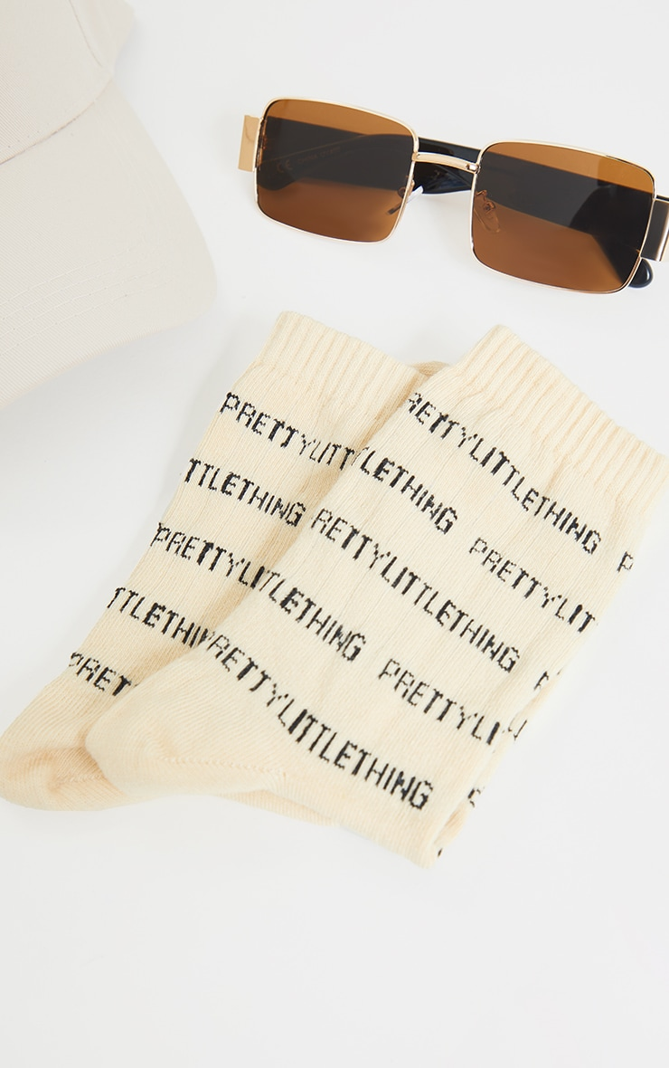 PRETTYLITTLETHING Nude All Over Text Ankle Socks 3