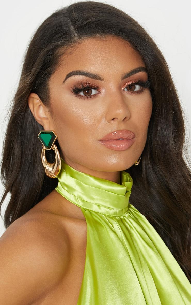 Gold and Emerald Green Gemstone Chunky Earrings 1