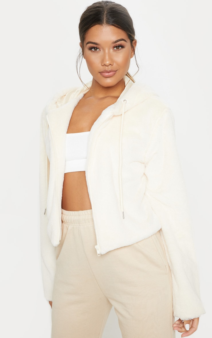 Cream Faux Fur Cropped Hooded Jacket 4