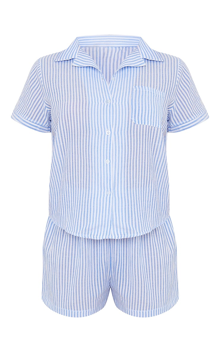 Blue Striped Cotton Short Sleeve Shirt And Shorts PJ Set With Scrunchie 5