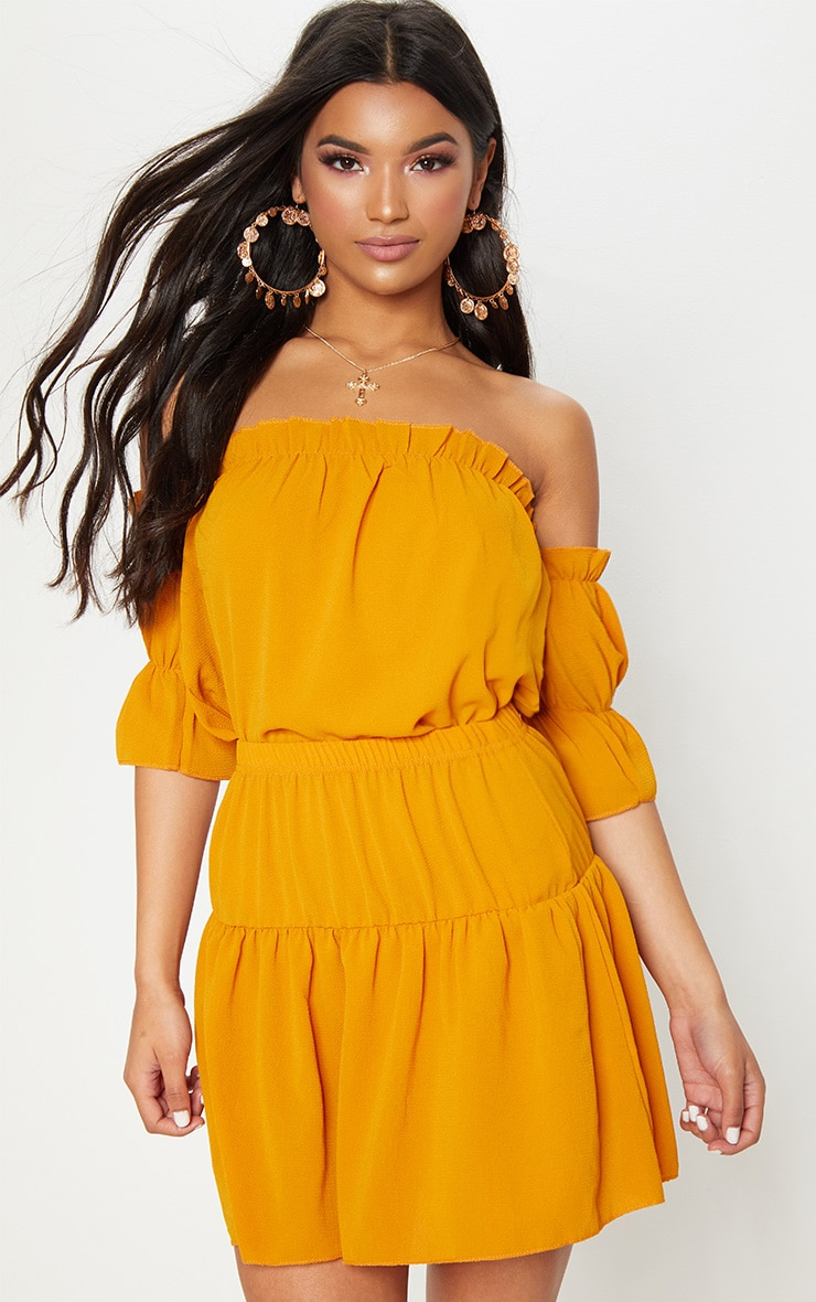 Mustard Chiffon Frill Sleeve Crop Top