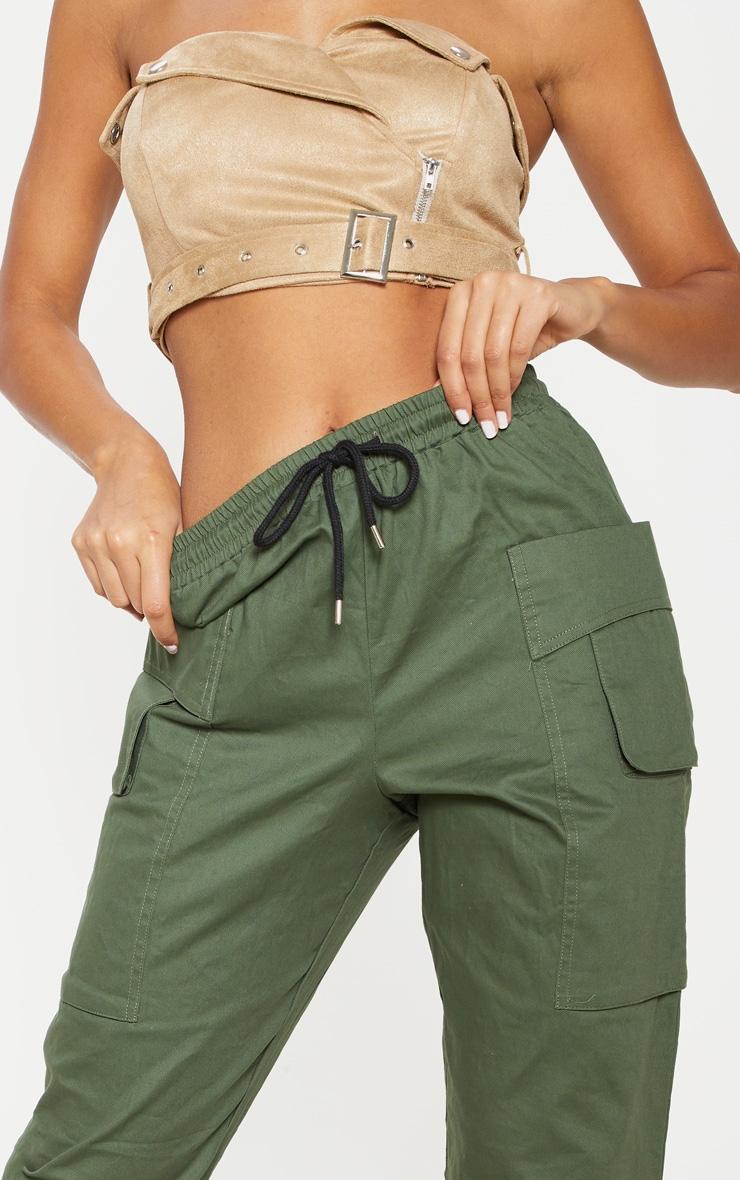 Dark Khaki Double Pocket Detail Cargo Pant 5