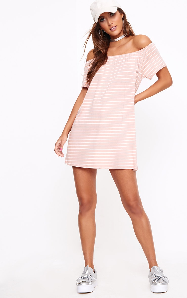 Pink Stripe Bardot Shift Dress 4