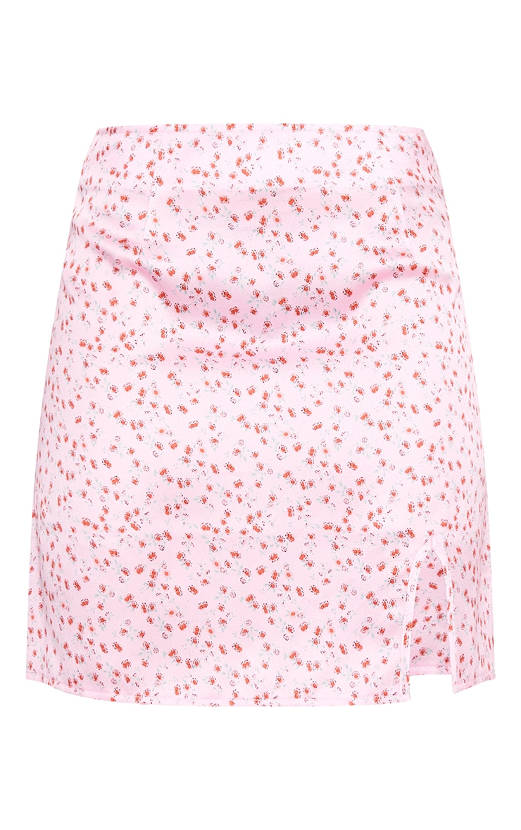 Pink Floral Satin Split Mini Skirt 6