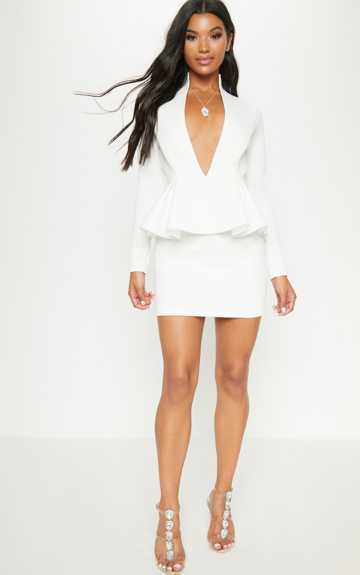 White Extreme Plunge Peplum Longsleeve Bodycon Dress 4