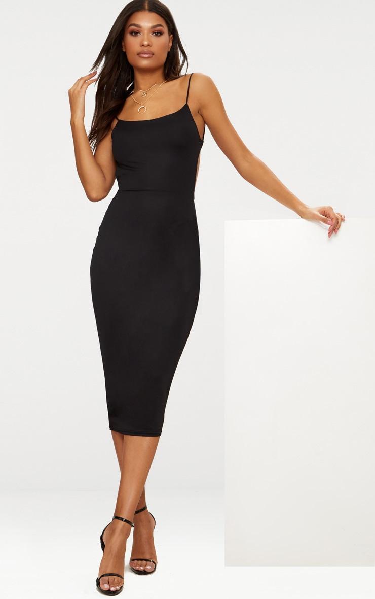 Black Straight Neck Strappy Back Midaxi Dress 2