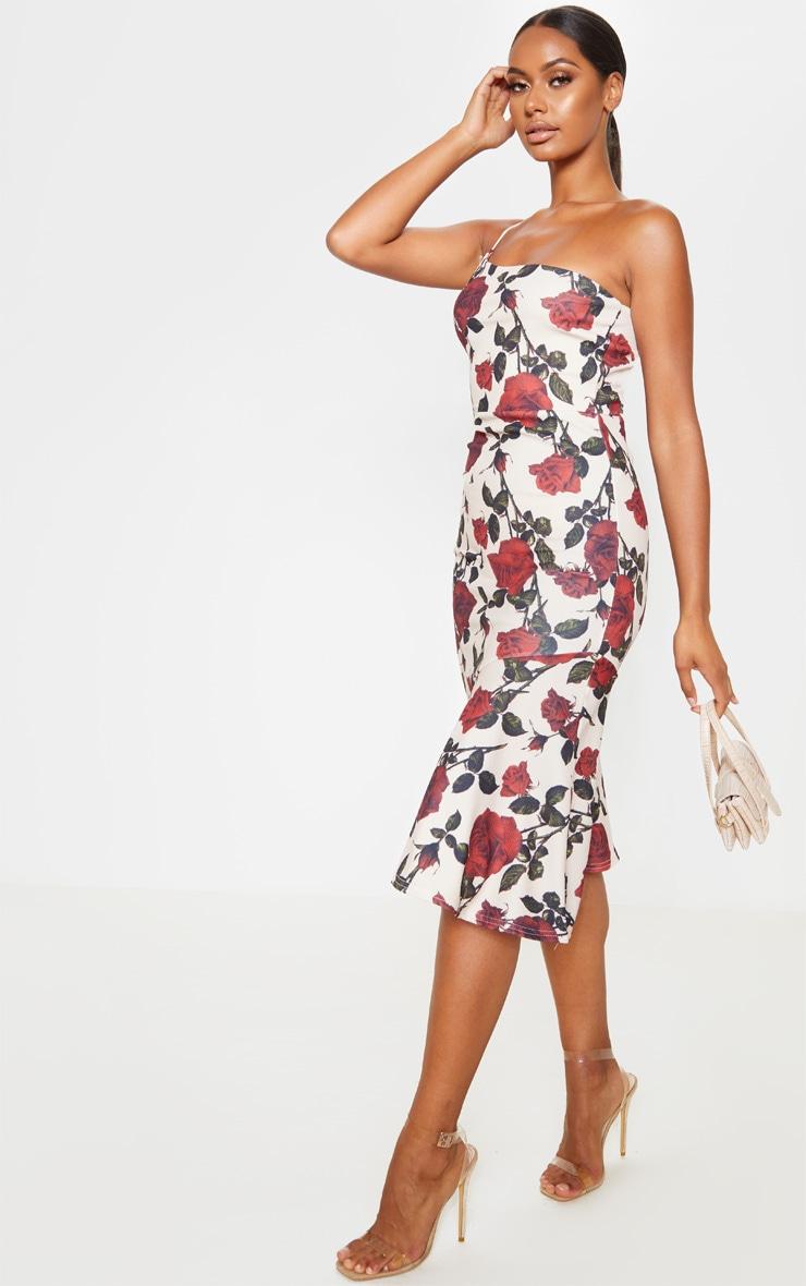 Nude Rose Print Strappy One Shoulder Frill Hem Midi Dress 4
