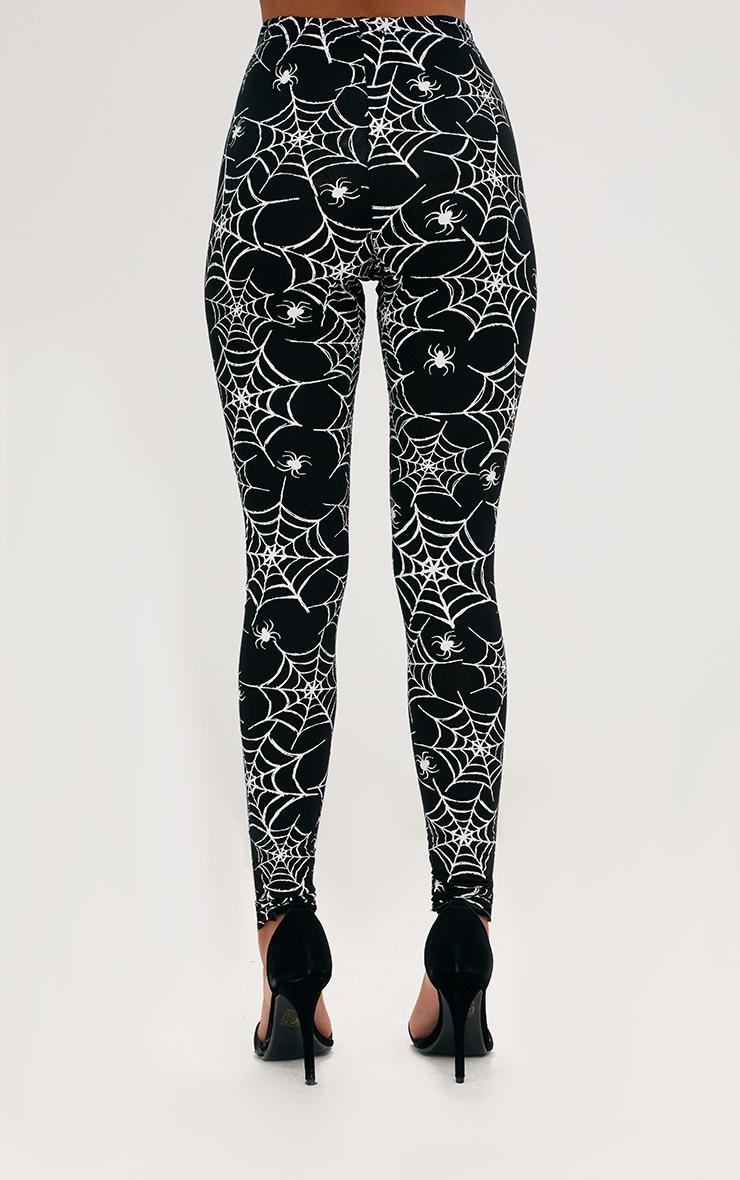 Black Spider Web Print Leggings 4