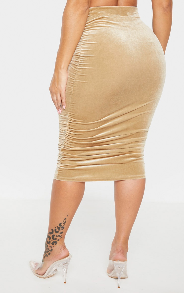 Shape Champagne Velvet Ruched Side Bodycon Skirt 3