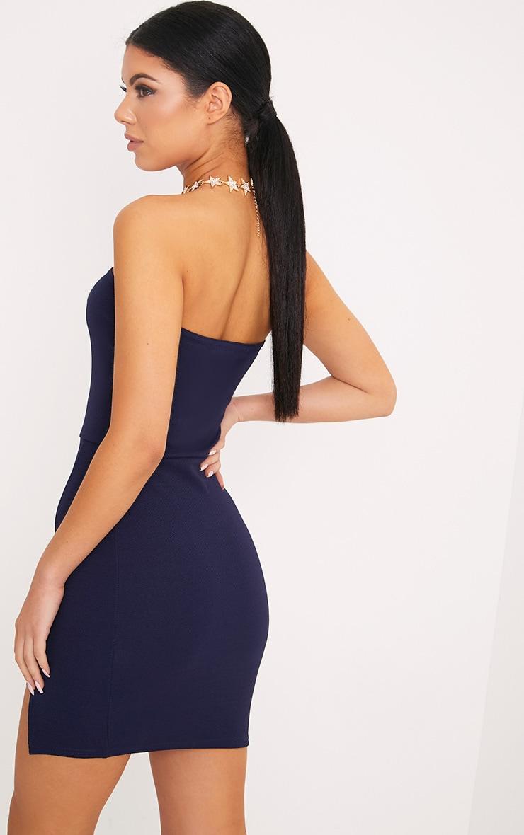 Layala robe moulante bandeau détail fente bleu marine 2