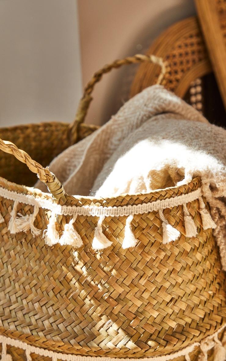 Woven Seagrass Tassel Basket 2