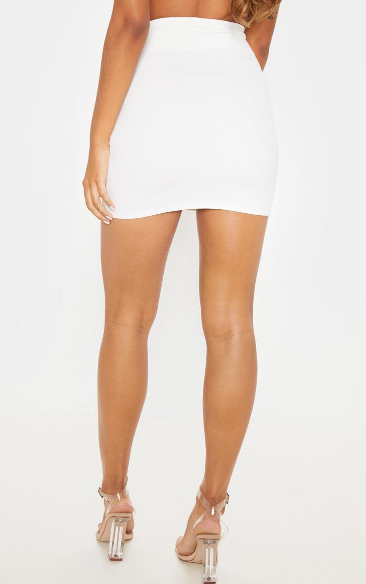 White High Waisted Button Detail Mini Skirt 4