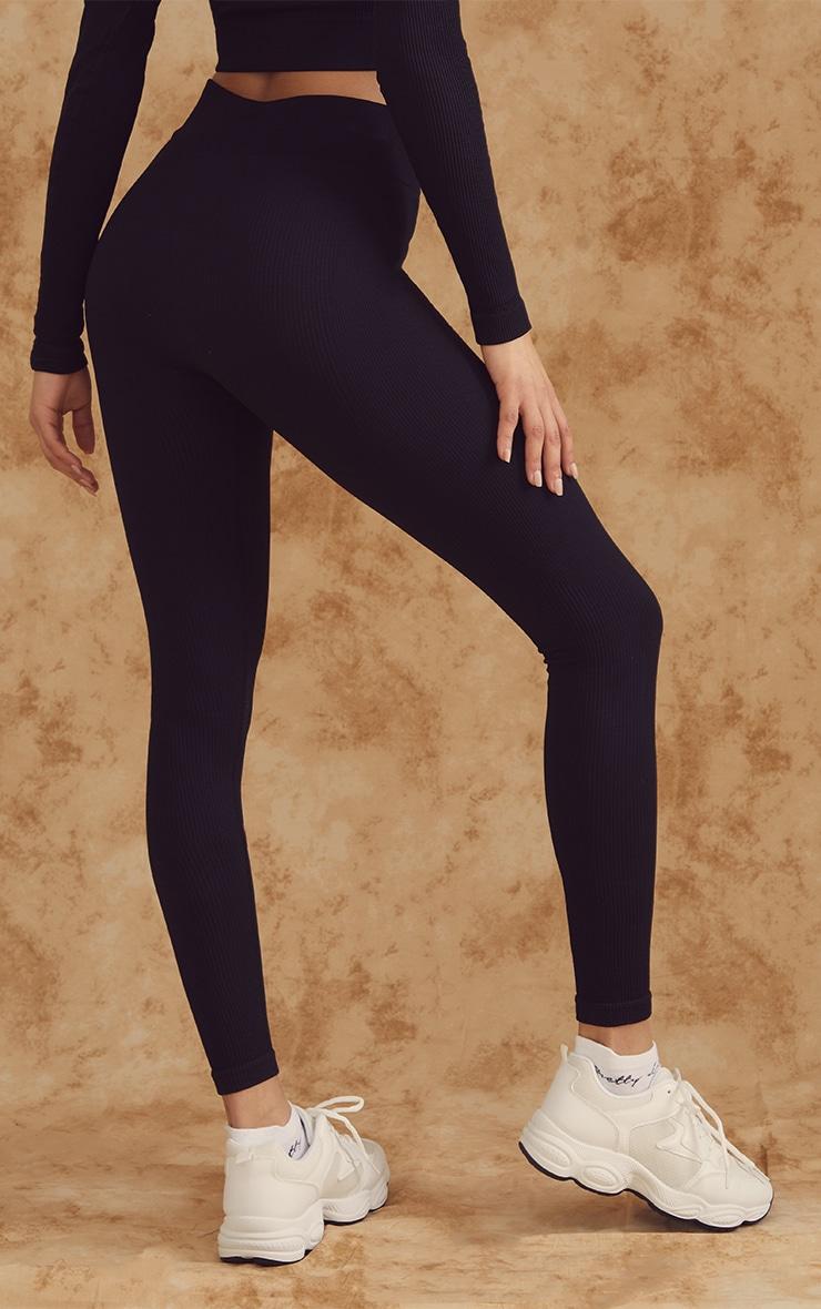 Black Ribbed Seamless Gym Leggings 3