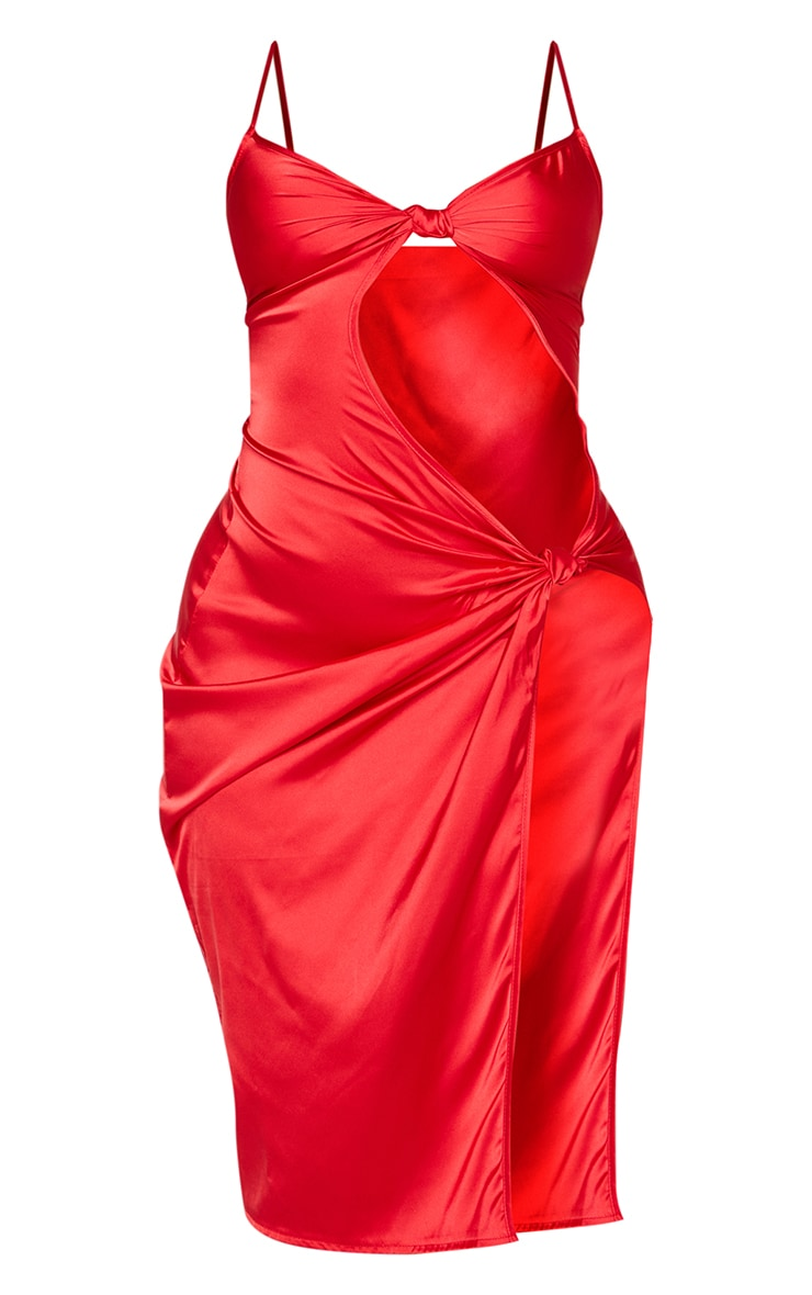 Shape - Robe mi-longue satinée rouge à fente et détail noeud 5