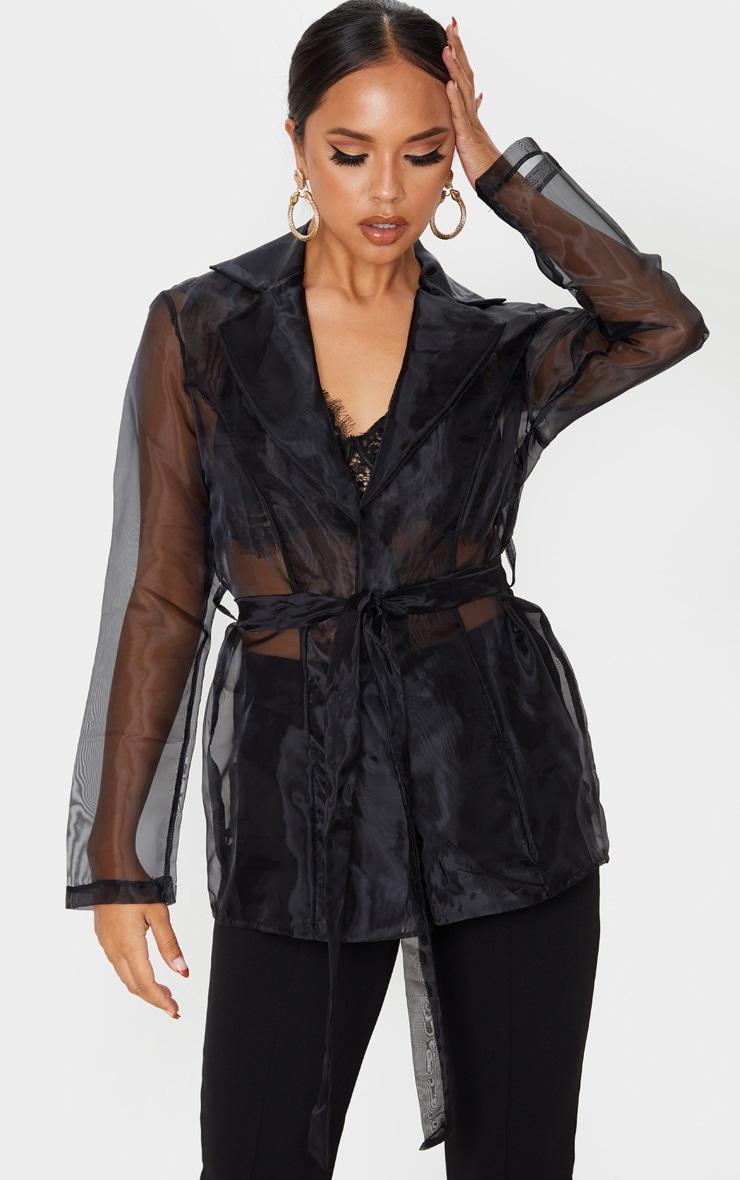 Black Organza Tie Front Blazer 1