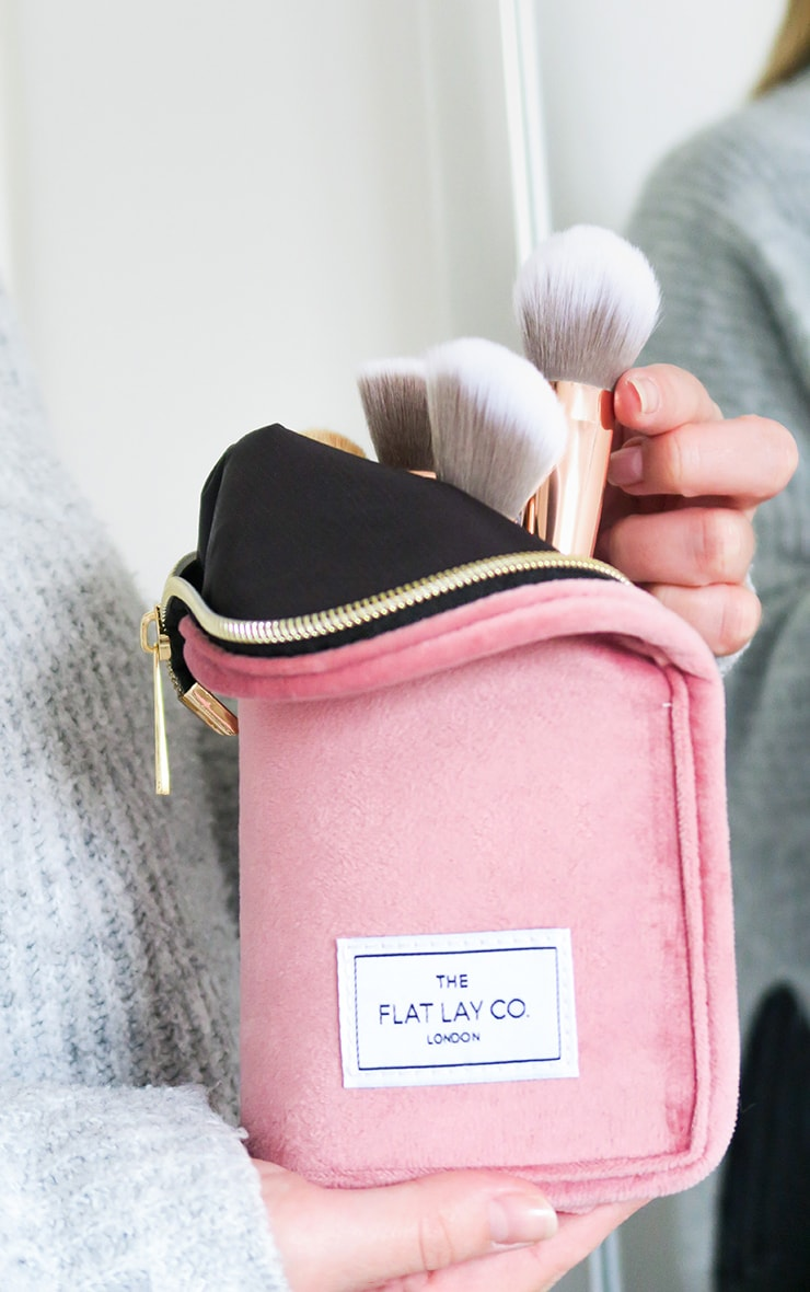 The Flat Lay Co Standing Brush Case Pink Velvet 1