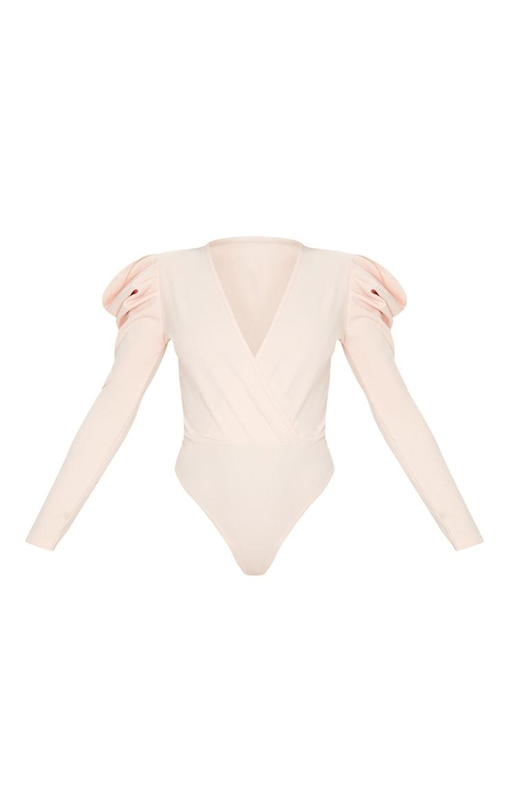 Nude Crepe Puff Sleeve Deep Plunge Bodysuit 3