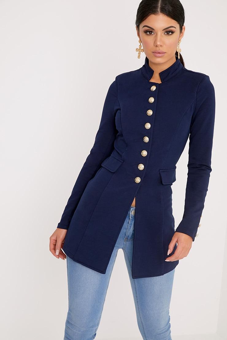 Deleana Navy Longling Military Style Jacket 4