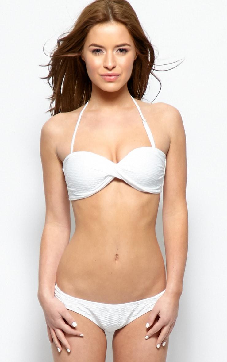 Emmy White Textured Twist Bandeau Bikini  1