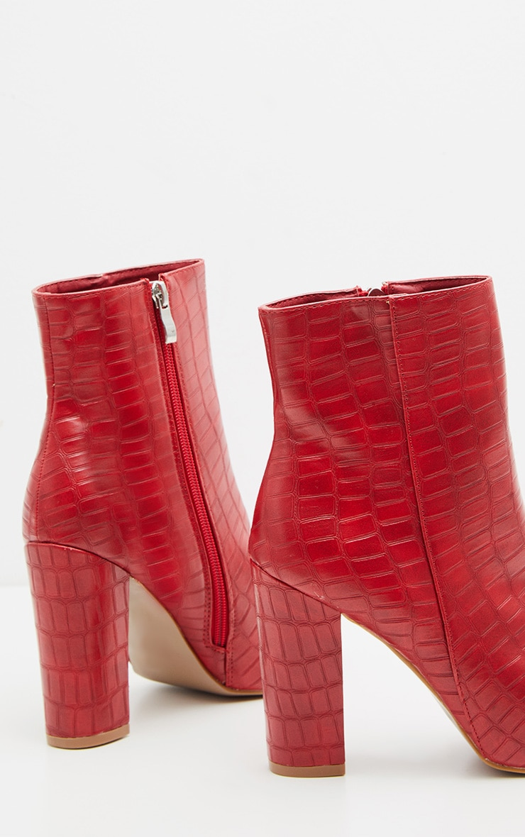 Red Faux Croc Ankle Boot 3